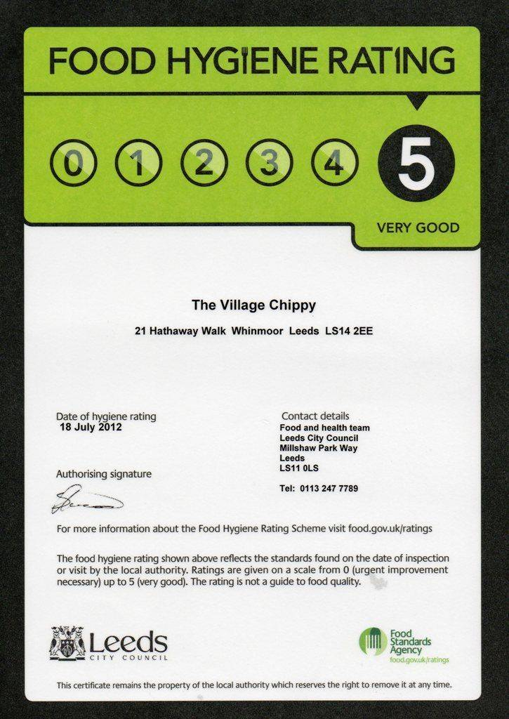 Five out of Five Food Hygiene Rating Certificate for the fish and chip van.