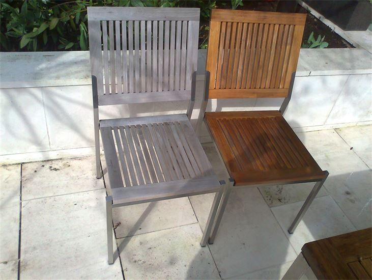 before and after teak patio furniture jet washing pressure washing stone cleaning london bromley kent