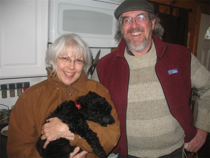 Gorgeous black standard poodle puppy with her new family.