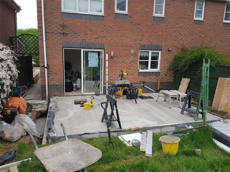 Single story extension slab installed