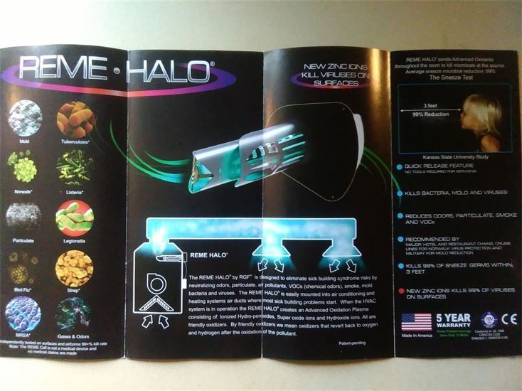 brochure on Remi Halo air purifier