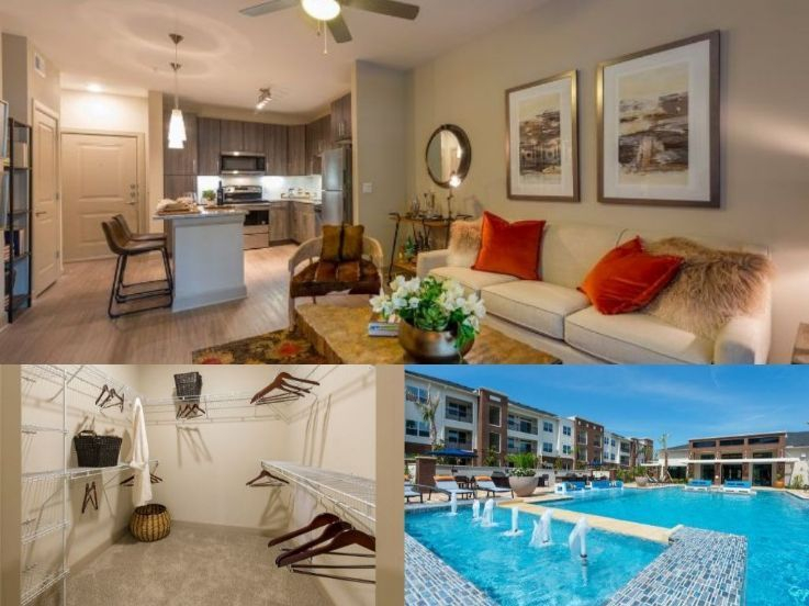 apartment kitchen, living area, walk in closet, pool, and resort pool