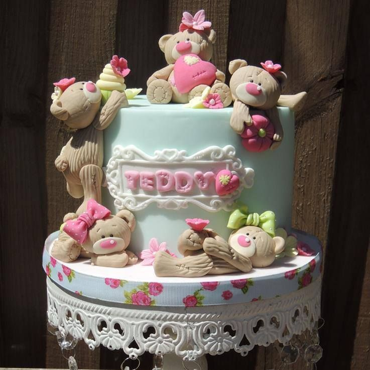 Teddy Bear Cake Poses Birthday Novelty Cake Cute Bows