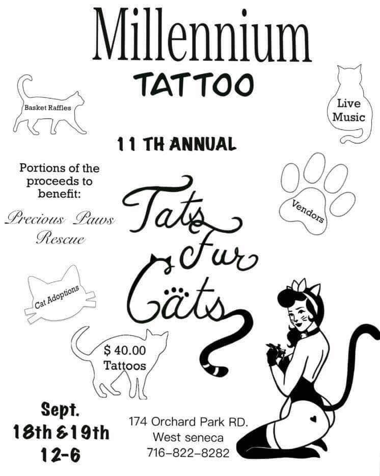 Millennium Tattoo, 11th Annual Tats Fur Cats, 9/18/21, 9/19/21, Sep 18 2021, Sep 19 2021, Fundraiser, Adoption, Event, Pet Rescue