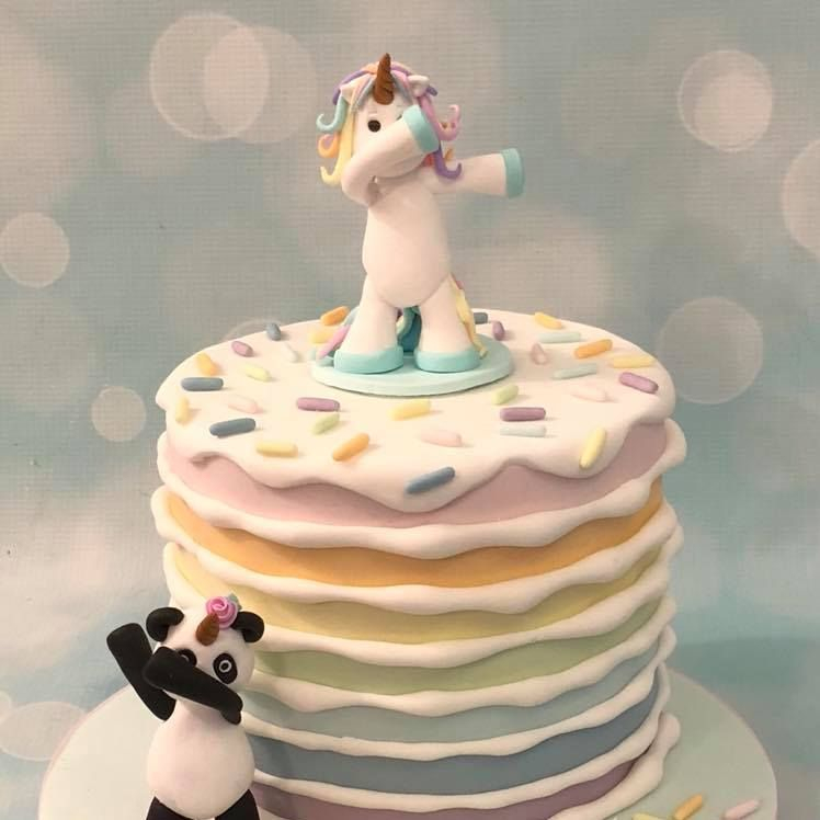 Dabbing Unicorn Panda Pandicorn Pandacorn Unipanda Pastel Rainbow Cake Birthday Celebration Novelty