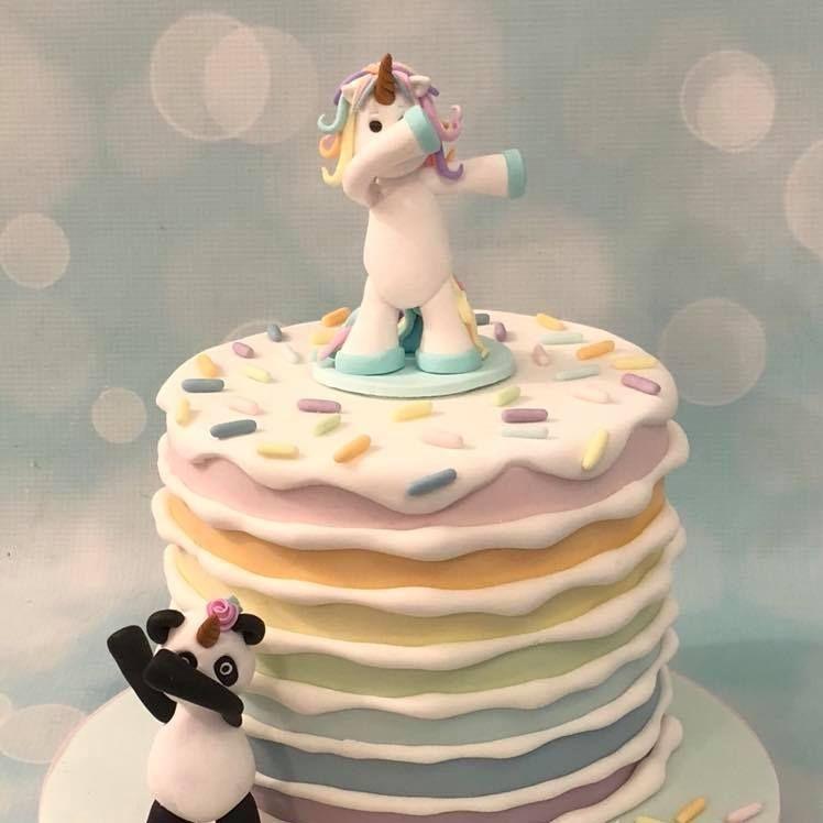 Dabbing Unicorn Panda Pandicorn Pandacorn Unipanda Pastel Rainbow Cake Birthday Celebration Novelty