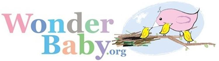 Wonder Baby .org logo with mother bird feeding baby bird with two additional baby birds on a branch