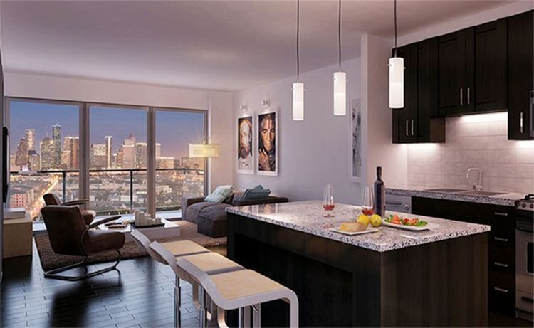 Luxury apartment kitchen, granite island, panoramic views of Houston