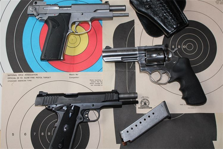 A variety of the guns used in classes offered by Strong Foundations Firearms Education