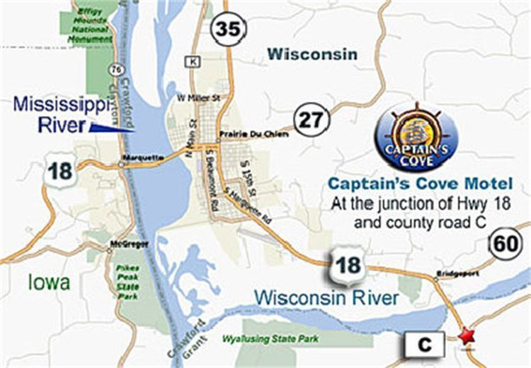 Map showing where Captains Cove motel is located