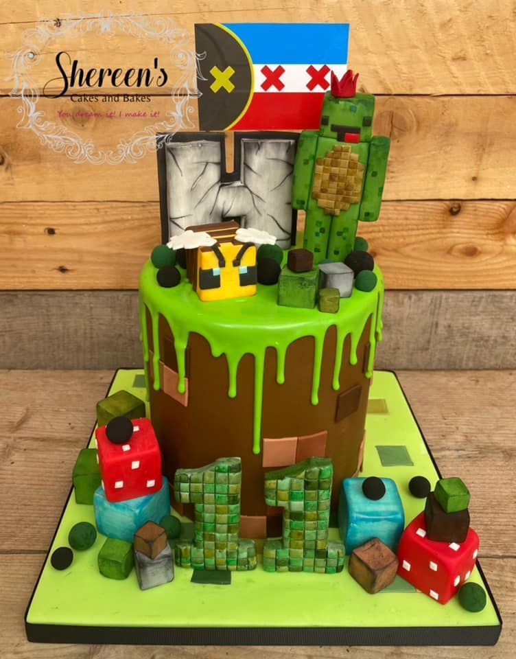 Minecraft themed drip cake with blocks and Bee