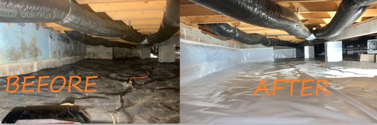 Crawl space dehumidifier, crawl space encapsulation, mold removal, mold remediation, crawl space vapor barrier, crawl space waterproofing, radon testing, sump pump battery backup, crawl space mold, crawl space repair
