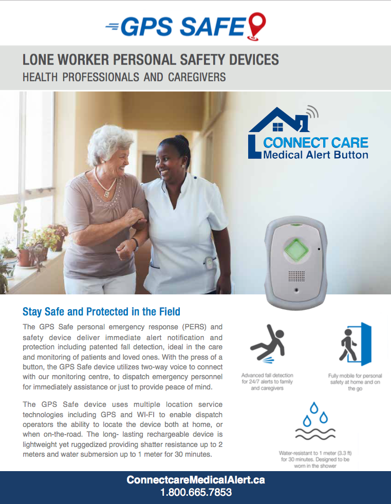 Health Professional wearing the GPS Safe on the go device