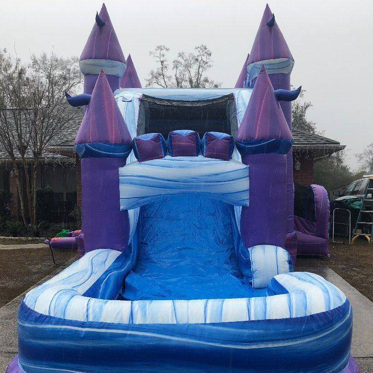purple marble castle bounce house waterslide combo