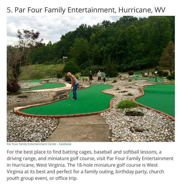 voted 5th best mini golf in WV