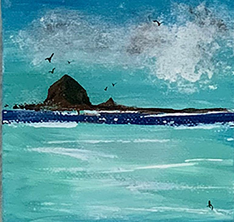 Early Tide, Haystack Rock, seagulls, Pacific Ocean, Oregon Coast, beach, cloudy skies, Oregon Artist, Abstract Artist, Local Artist, Hope Angel Fine Art