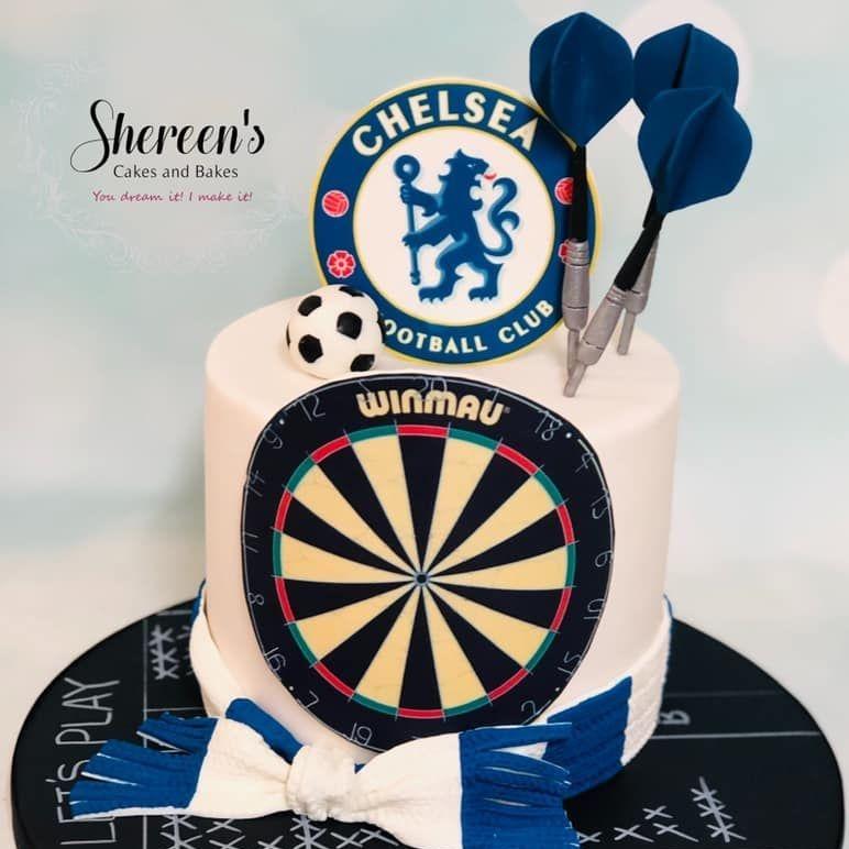 Birthday Cake dart board dartboard darts chelsea football scarf chalk board