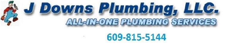 j downs plumbing logo with phone number