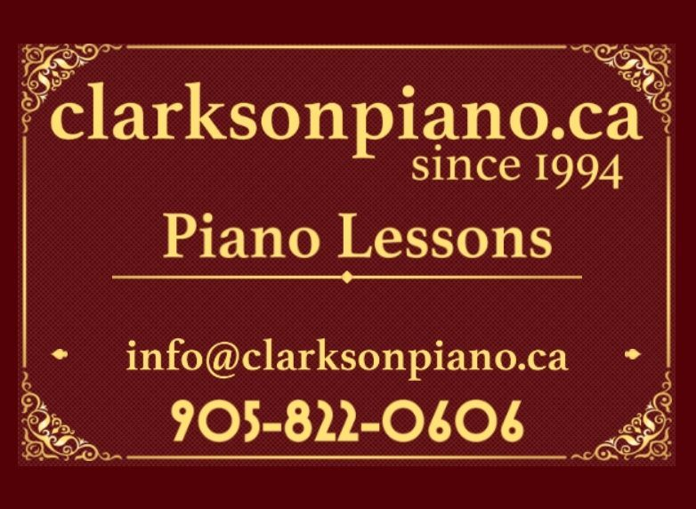 clarkson piano business card front featuring dark red background and gold trim. showing clarkson piano main phone number 9058220606 and clarkson piano main email address info@clarksonpiano.ca. also showing clarksonpiano.ca at the top, our main domain. proudly since 1994
