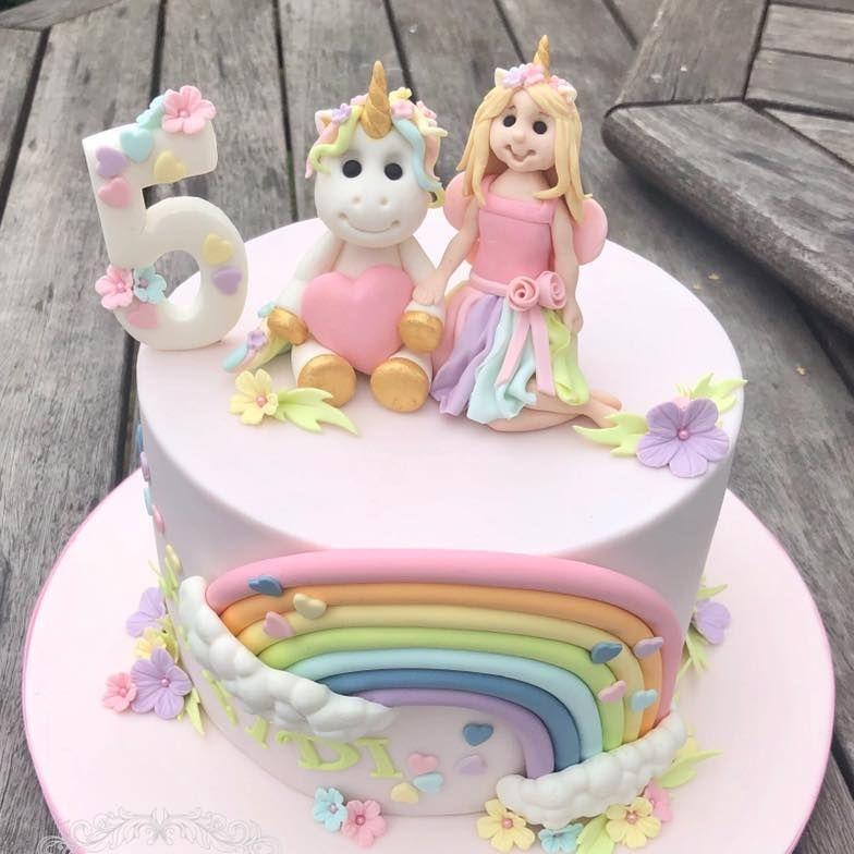 pastel rainbow unicorn pink girl cake birthday
