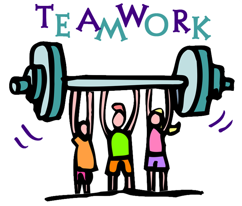 Image: Teamwork with 3 figures holding barbell up