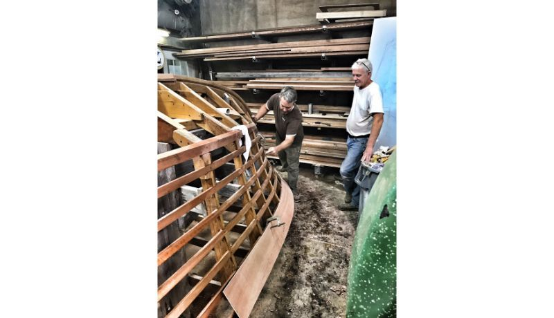Production on a new 22' Shepherd at Shepherd Boat Co.