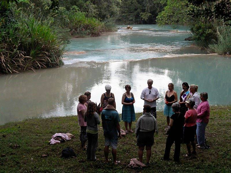 Linda Hogan leading ceremony to honor the water at Agua Azul in Chiapas, Mexico