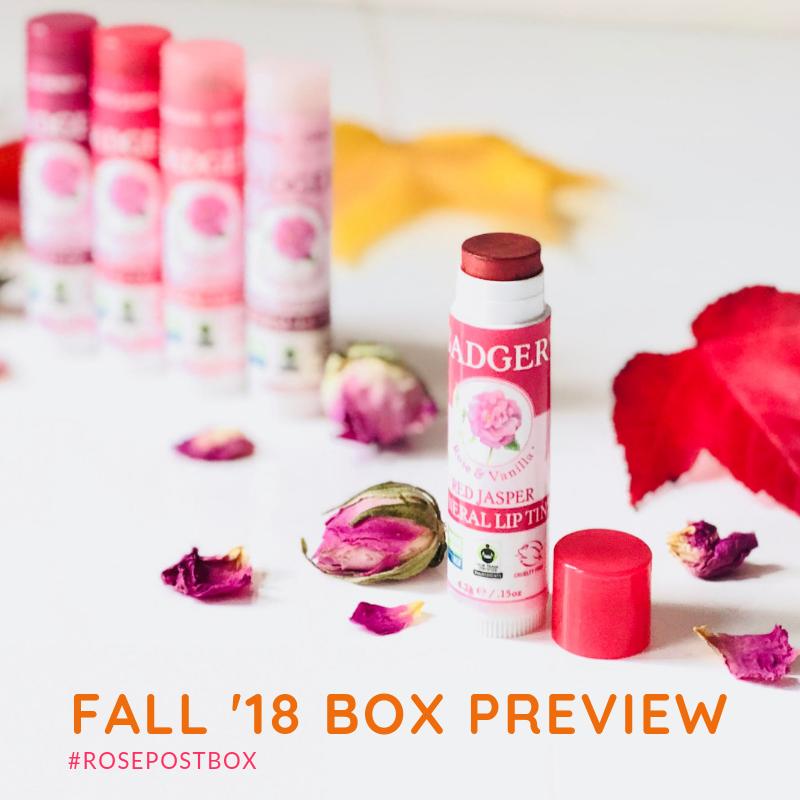 organic lip balm, tinted lip balm, badger balm, rosepost box, rose beauty, best rose-infused beauty gifts, armina bio floral water, rose mist, rose toner, rose subscription box
