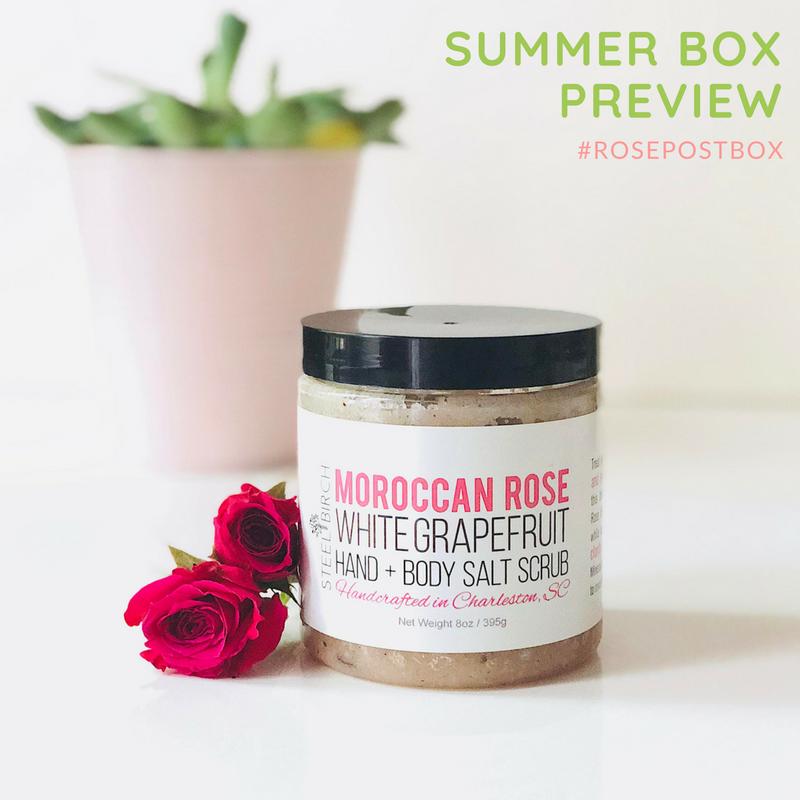 Rose Oil, Rose Scrub, Steel Birch Moroccan Rose, Rose Water, RosePost Summer Box, RosePost Box, Green Beauty Subscription, Rose Beauty Box, Green Beauty Box