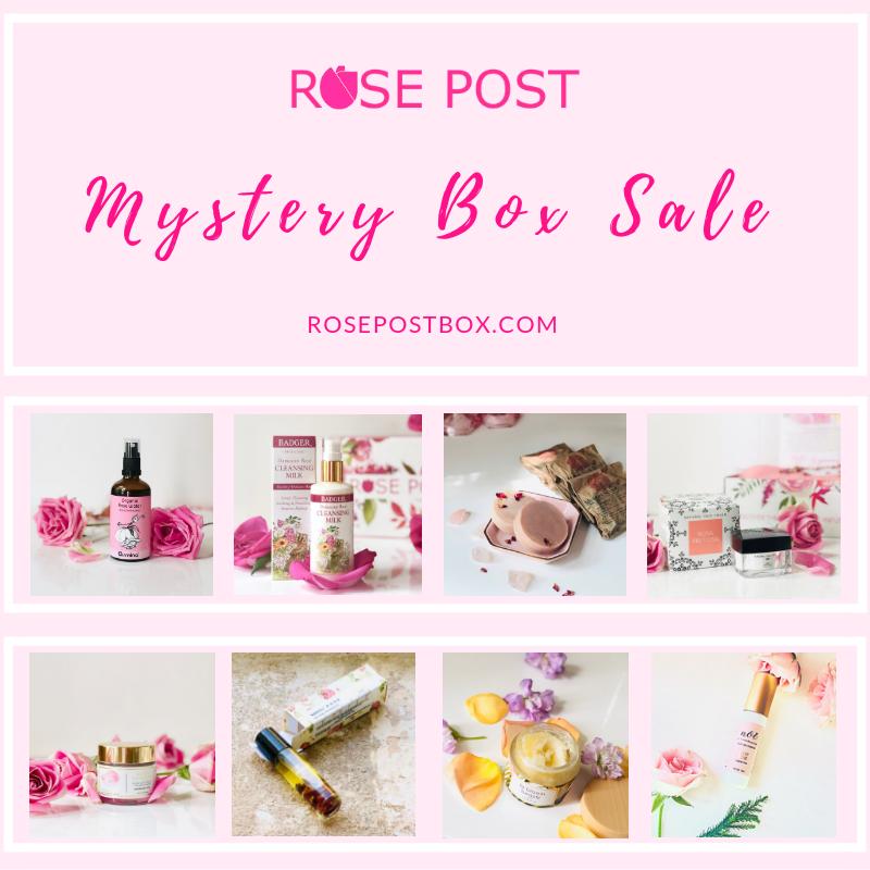 Clean Beauty Box, Rose Gift Box, RosePost Mystery Gift Box, RosePost Box, Green Beauty Subscription, Rose Beauty Box, Green Beauty Box, Rose Skincare, Clean Rose Beauty