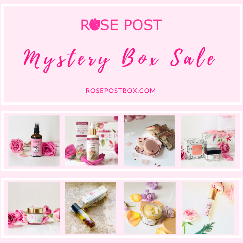 Clean Beauty Box, Rose Gift Box, RosePost Mystery Gift Box, RosePost Box, Green Beauty Subscription, Rose Beauty Box, Green Beauty Box, Rose Skincare, Clean Rose Beauty