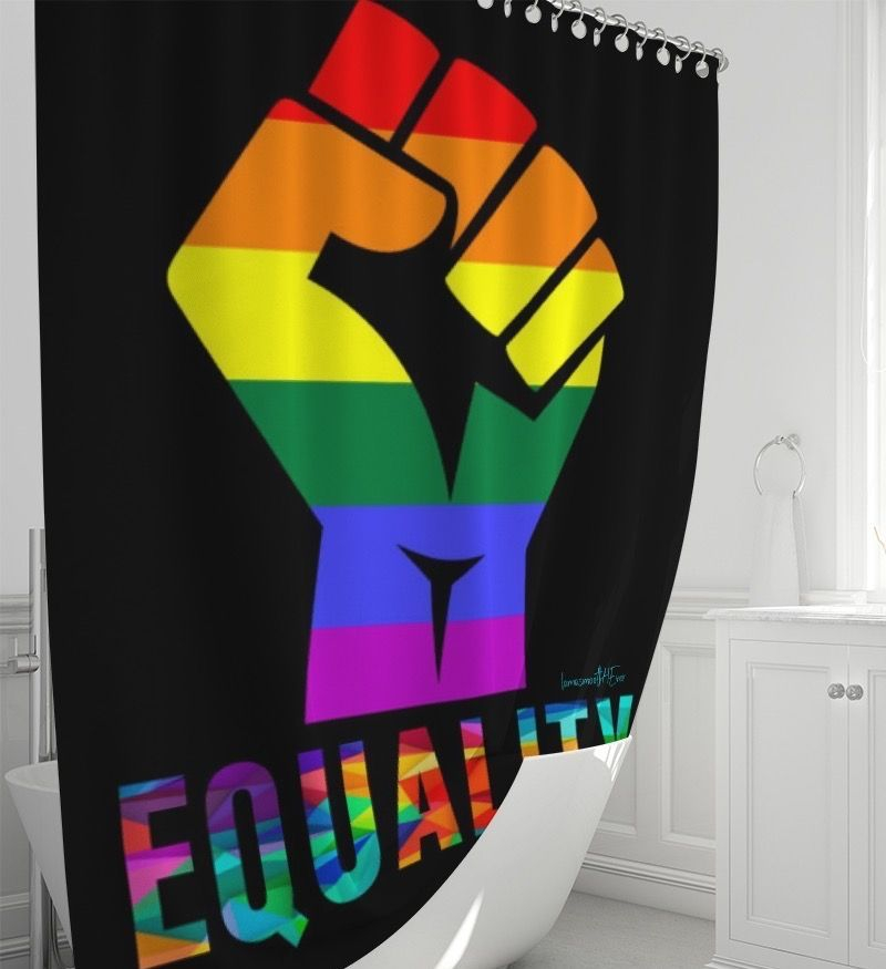 "LGBTQ LOVE Shower Curtain 72""x72"""