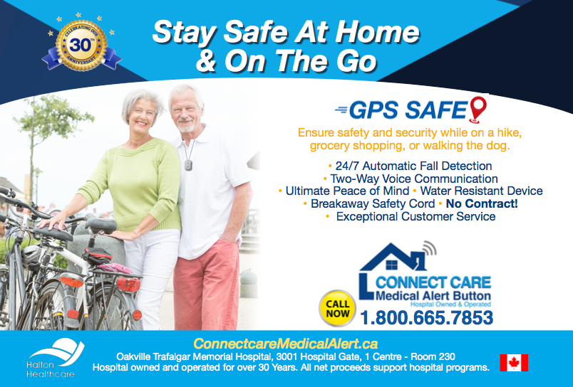Active senior cyclists wearing the GPS Safe on the go device.