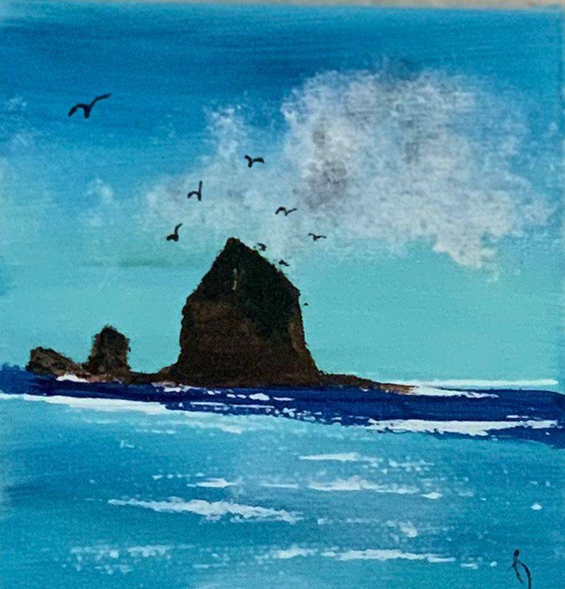 Summer Line, Haystack Rock, Pacific Ocean, ocean, Oregon Coast, cloudy skies, Oregon Artist, Abstract Artist, Local Artist, Hope Angel Fine Art