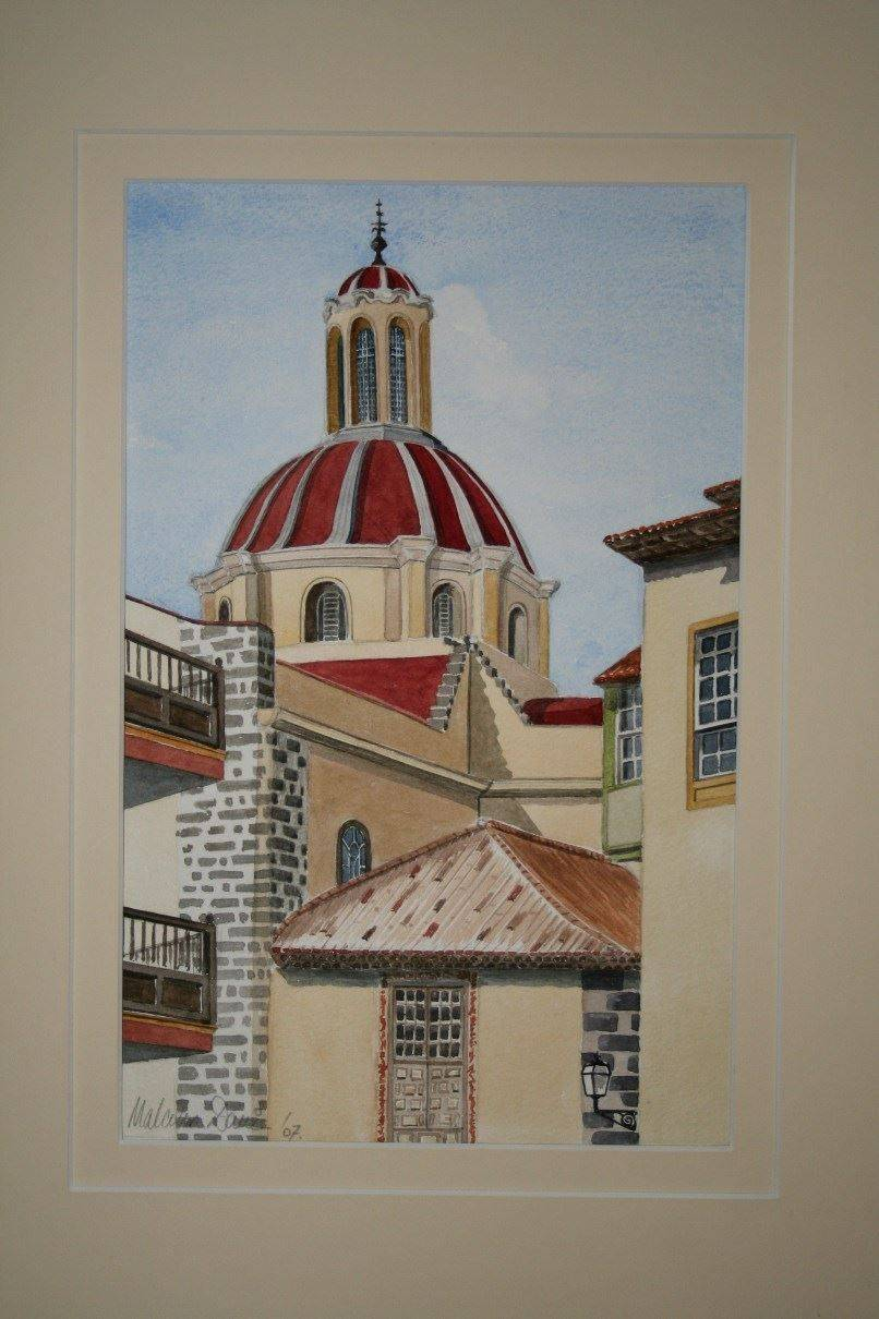 Church of the Conception at oratava on Tenerife (Watercolour) : Available £120