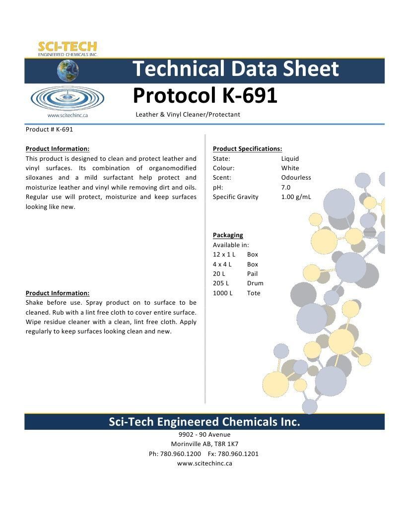 Technical Data Information Protocol K691 Leather Vinyl Cleaner Conditioner