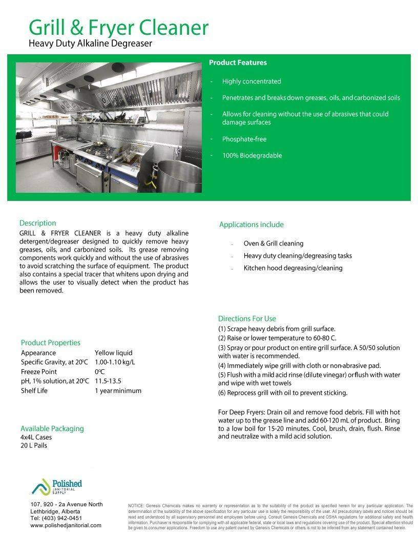 Technical Data Information Grill & Fryer Cleaner