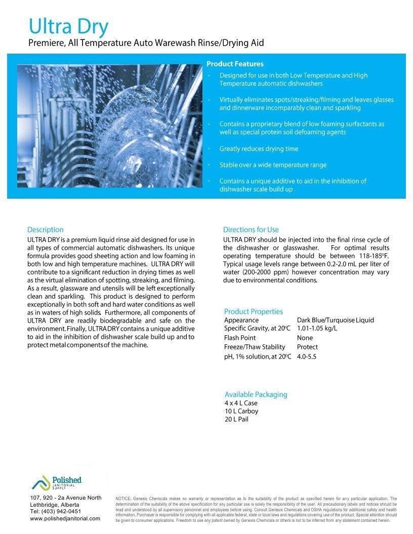 Technical Data Information Ultra Dry Rinse Aid Warewash