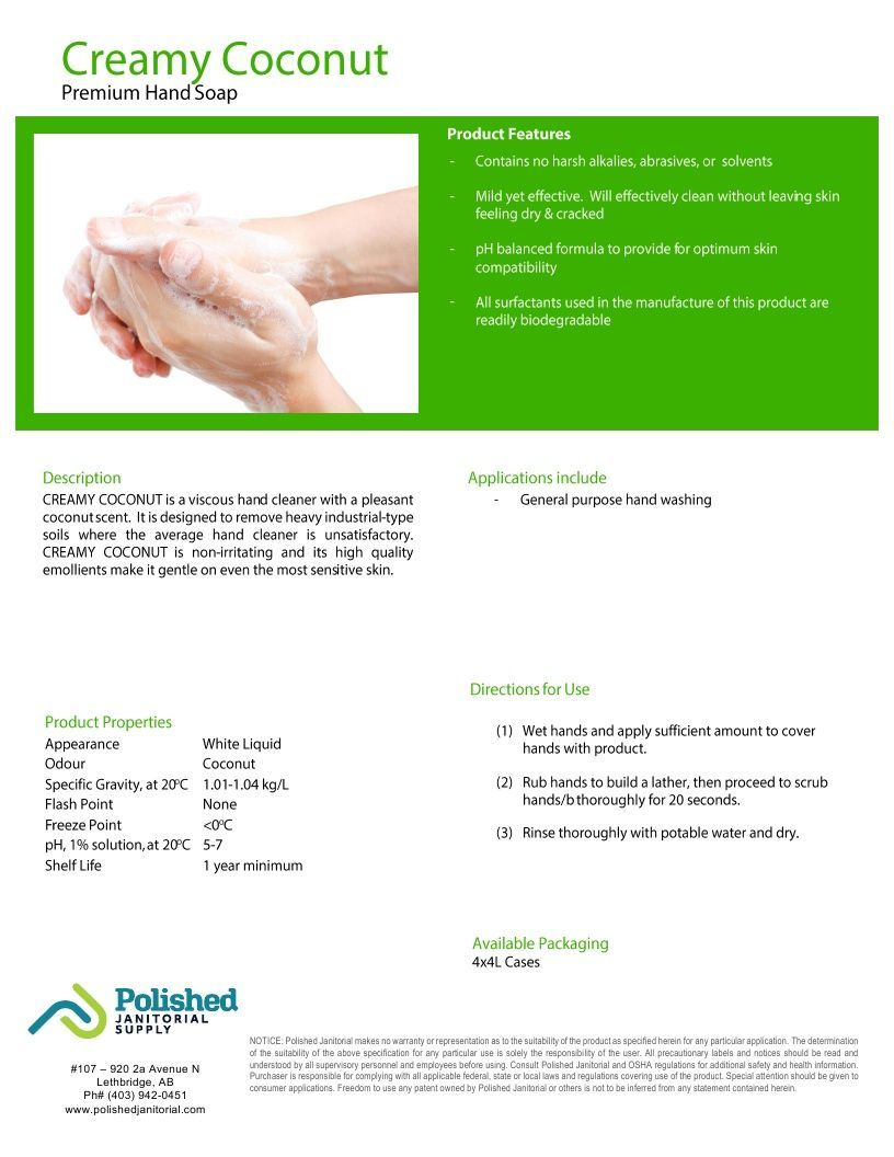 Technical Data Information Coconut Hand Soap