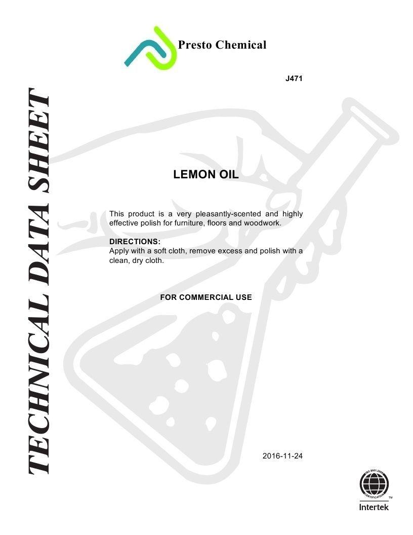 Technical Data Information Lemon Oil
