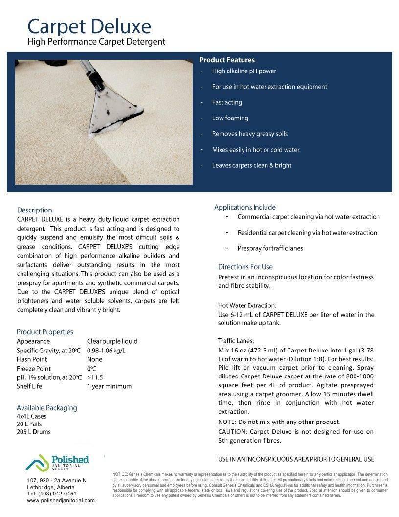 Technical Data Information Sheet Carpet Cleaner
