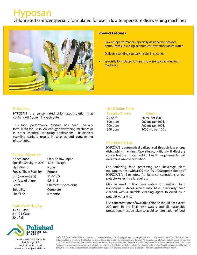Technical Data Information Hyposan 6% Hypochlorite