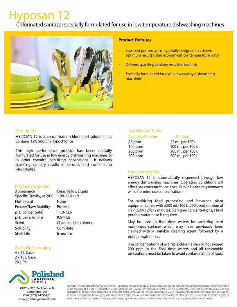 Technical Data Information Hyposan 12% Hypochlorite