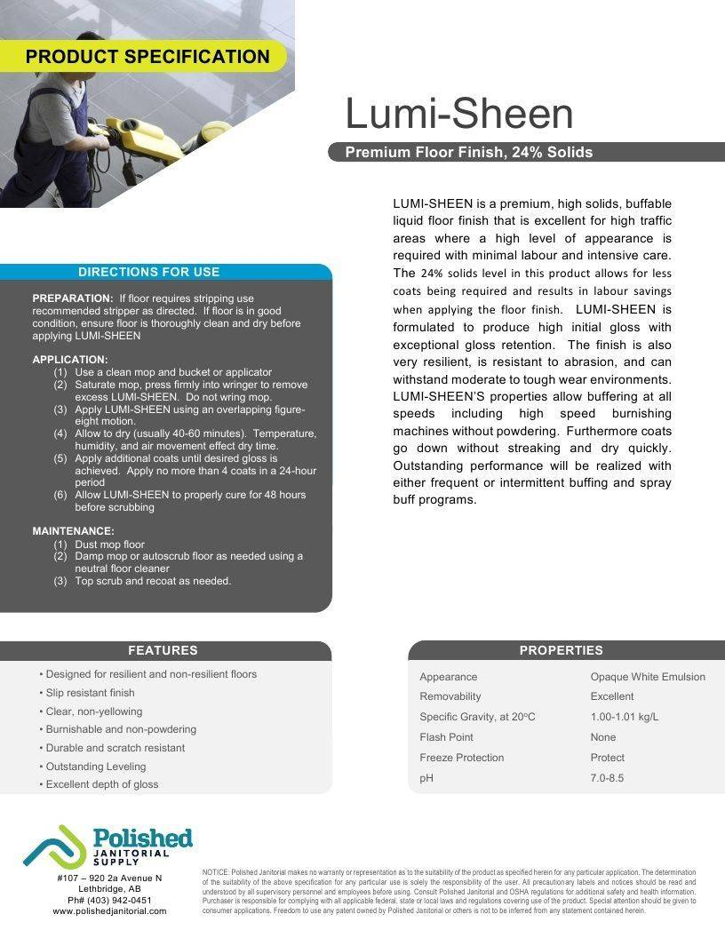 Technical Data Information Lumi-Sheen Floor Finish