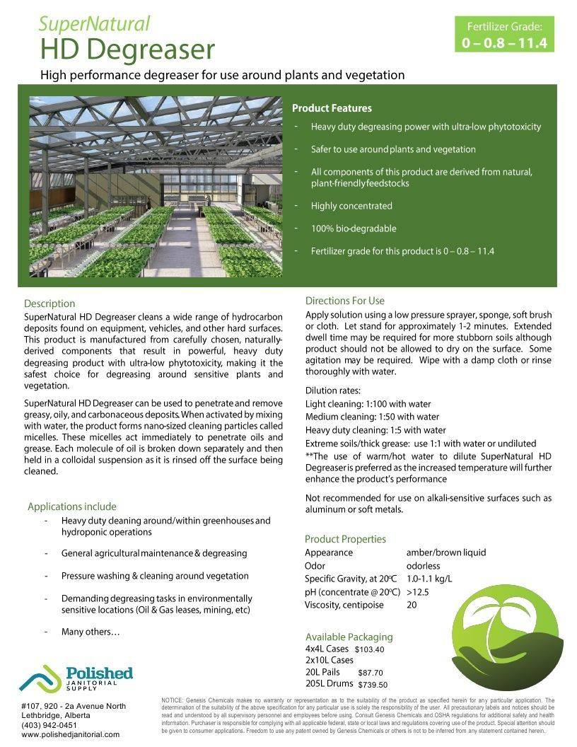 Technical Data Information Super Natural Heavy Duty Degreaser for Plants & Vegetation