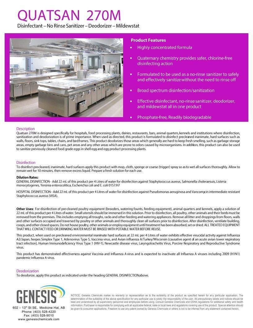 Technical Data Information sheet Quatsan 270M