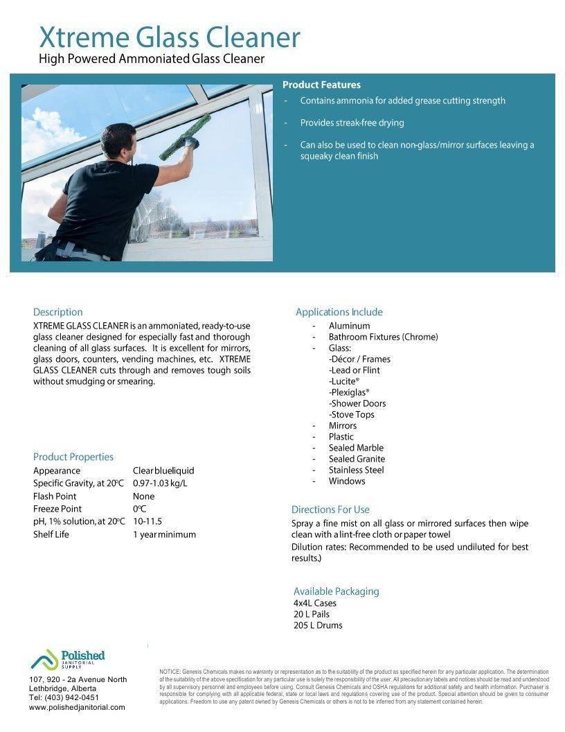 Technical Data Information Sheet Xtreme Glass Cleaner with Ammonia Ready to Use RTU