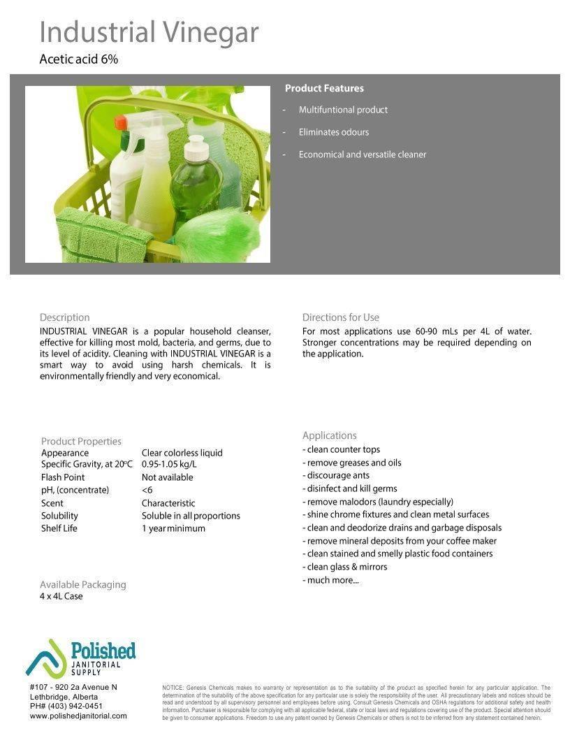 Technical Data Information Industrial Vinegar