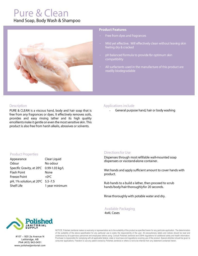Technical Data Information Sheet Pure and Clean Shampoo Body Wash Hand Soap