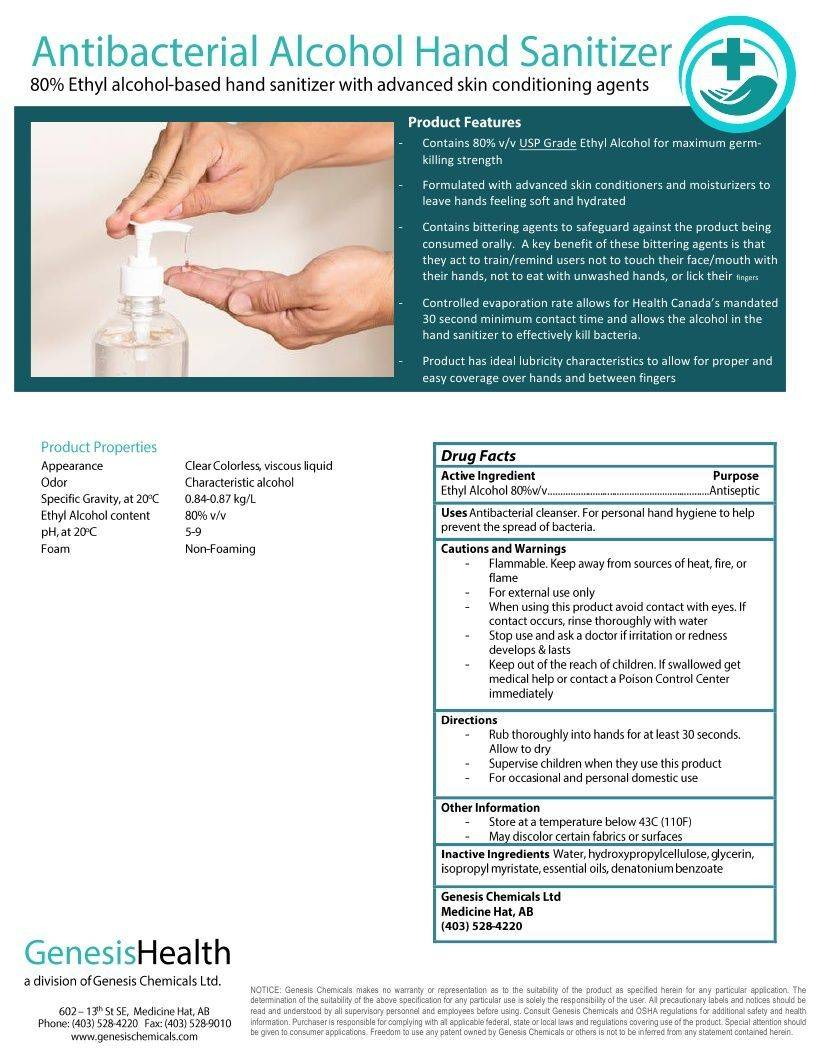 Technical Data Information Hand Sanitizer 80% Ethyl Alcohol Gel Essential Oils